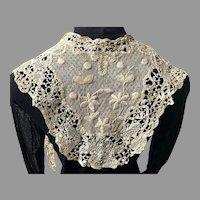Antique Ecru Battenberg Lace Lappet / Collar