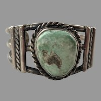 Vintage Native American Light Green Turquoise Coin Silver Cuff Bracelet