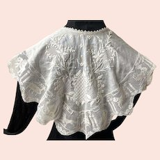 REDUCED Antique White Embroidered Lappet / Collar With Lace Ruffle