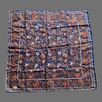 Vintage Silk Liberty Of London Stylized Flowers Square Scarf