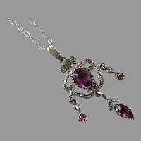 Vintage Sterling Purple Paste Pendant Necklace