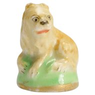 "18th Century Derby Chelsea ""Lying Lion"" Porcelain Fob Seal"
