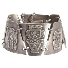 1950s Silver Aztec Bracelet