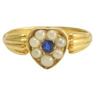 Victorian Sapphire & Pearl Heart Ring