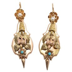 """Victorian Turquoise & Pearl """"Day and Night"""" Earrings"""