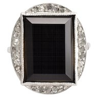 Art Deco Onyx Slab & Diamond Cocktail Ring