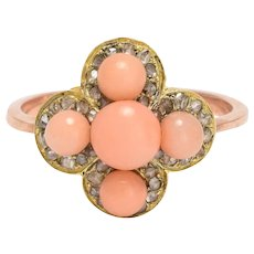Victorian Coral & Diamond Quatrefoil Ring