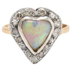 Victorian Opal & Diamond Heart Ring