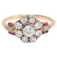 Art Deco Diamond & Ruby Flower Cluster Ring