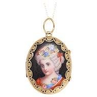 Antique Swiss Diamond Portrait Locket