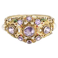 19th Century Austro-Hungarian Amethyst & Pearl Bangle