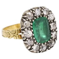 Antique Georgian Emerald & Diamond Cluster Ring