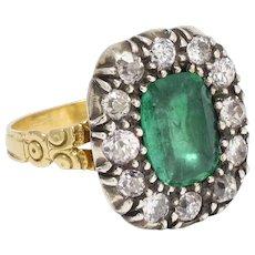 Antique Georgian Emerald & Diamond Cluster Ring
