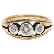 1940s Three-Stone Diamond Trilogy Ring