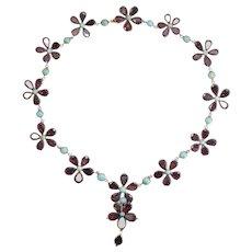 Georgian Garnet & Turquoise Flower Rivière Necklace