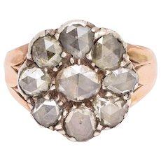 Antique Georgian Rose Cut Diamond Flower Ring