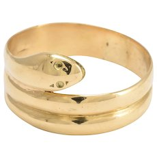 Victorian 18k Gold Coiled Snake Ring