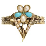Georgian Regency Period Turquoise & Pearl Pansy Ring