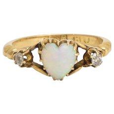 Late Victorian Opal & Diamond Heart Ring