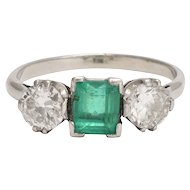 Art Deco Emerald & Diamond Trilogy Ring