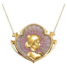 Art Nouveau Plique-á-jour Lady Necklace