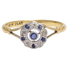 Art Deco Sapphire & Diamond Flower Cluster Ring