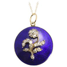 "Mid-Victorian ""Forget-Me-Not"" Diamond Round Locket"