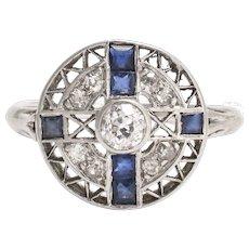 Art Deco Sapphire & Diamond Openwork Cluster Ring