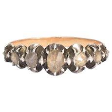 Georgian Rose Diamond Half-Hoop Band Ring