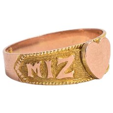 Late Victorian MIZPAH Heart Ring