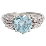 1930s Art Deco Zircon & Diamond Solitaire Ring