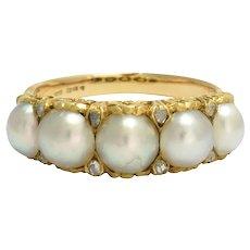 Antique Mid-Victorian Pearl & Diamond 5-Stone Ring
