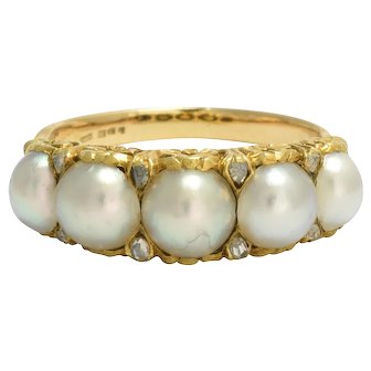 Antique Mid-Victorian Pearl & Diamond 5-Stone Ring