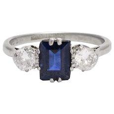 Antique Edwardian Blue Sapphire & Diamond Three-Stone Ring