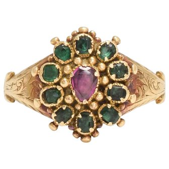 Antique Georgian Ruby Heart & Emerald Cluster Ring