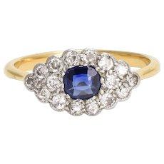 "Antique Edwardian Sapphire & Diamond ""Blue Eye"" Ring"
