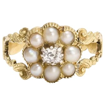 Antique Georgian Pearl & Diamond Flower Cluster Ring