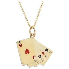 """1960s Enamelled """"Playing Cards"""" Lucky Charm"""