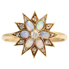 Antique Victorian Opal & Diamond Star Ring