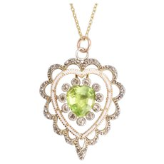 Antique Victorian Peridot & Diamond Heart Pendant Necklace