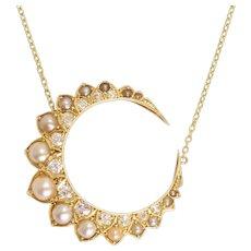 Victorian Pearl & Diamond Crescent Necklace