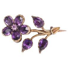 Georgian Amethyst Forget-Me-Not Flower Brooch