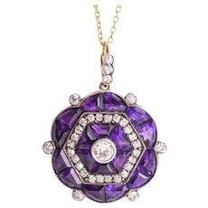 Edwardian Diamond & Amethyst Hexagon Pendant