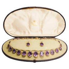 Victorian Amethyst Riviére Necklace & Earrings Suite