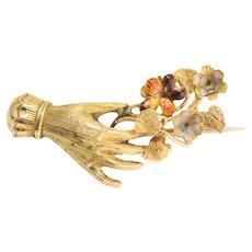 Georgian Hand & Flower Bunch Brooch