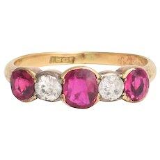 Late Victorian Ruby & Diamond 5-Stone Ring