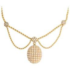 Mid Victorian Pearl & Diamond Locket Swag Necklace
