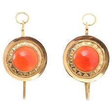 Georgian Carnelian Poissarde Earrings