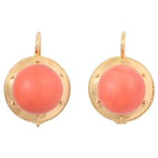 Antique Victorian Etruscan Revival Red Coral Earrings