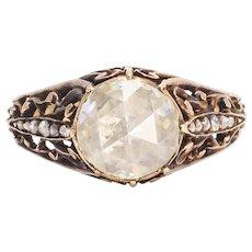Early Georgian Rose Cut Diamond Openwork Ring